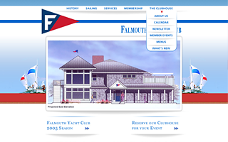 Falmouth Yacht Club, design, markup and flash.