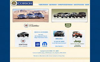 Corson Cadillac, design, markup and flash.