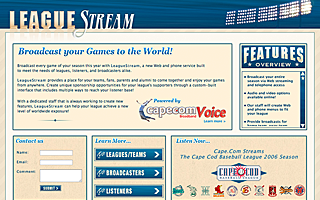 Leaguestream Home Page, VOIP Application front end site for Cape.com, design, markup and flash videos.