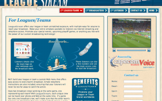Leaguestream Interior page, VOIP Application front end site for Cape.com, design, markup and flash videos.