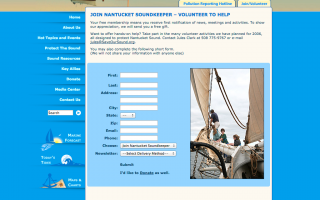 Nantucket Soundkeeper Home Page, design, markup and flash videos.