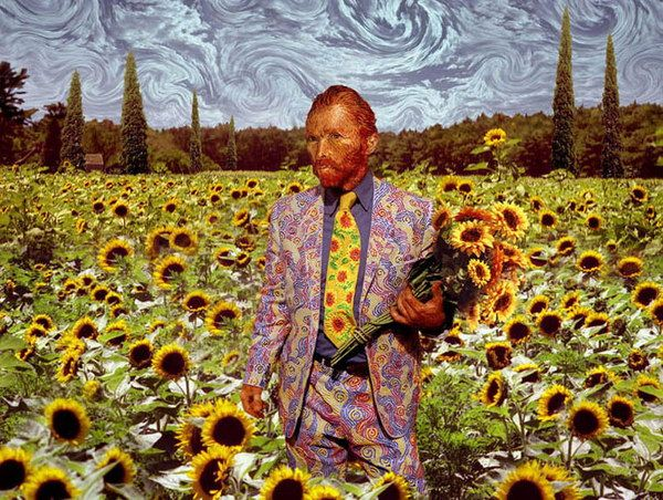 van gogh in a field of sunflowers
