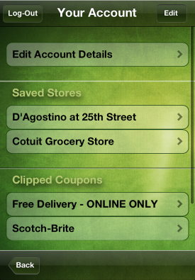 iPhone Saved Stores & Saved Coupons Screen